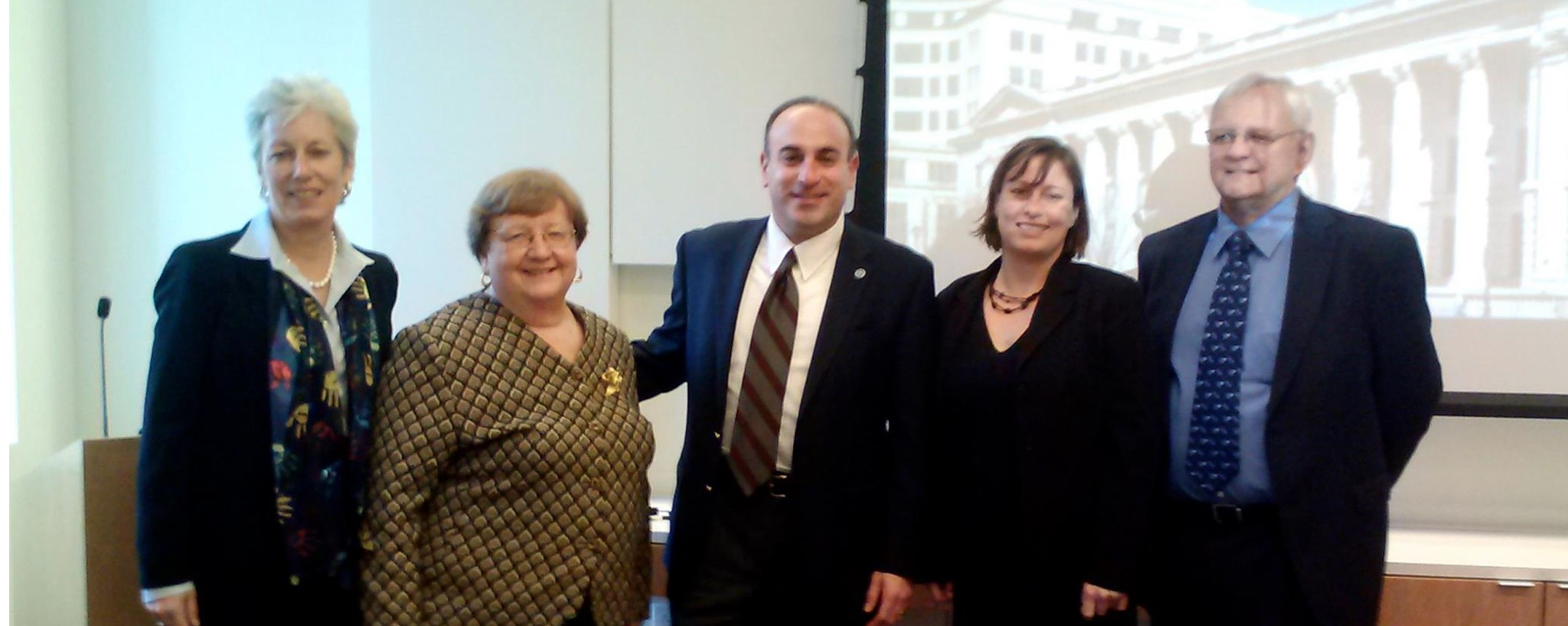 Presenters at this morning's Judicial Roundtable, co-hosted by ADDA and the Delaware Center for Justice. From left: Judge Jan Jurden, Attorney Robert Tudisco, Dr. Janet Kramer, Dr.Stephanie Moulton Sarkis, and Judge David Admire.